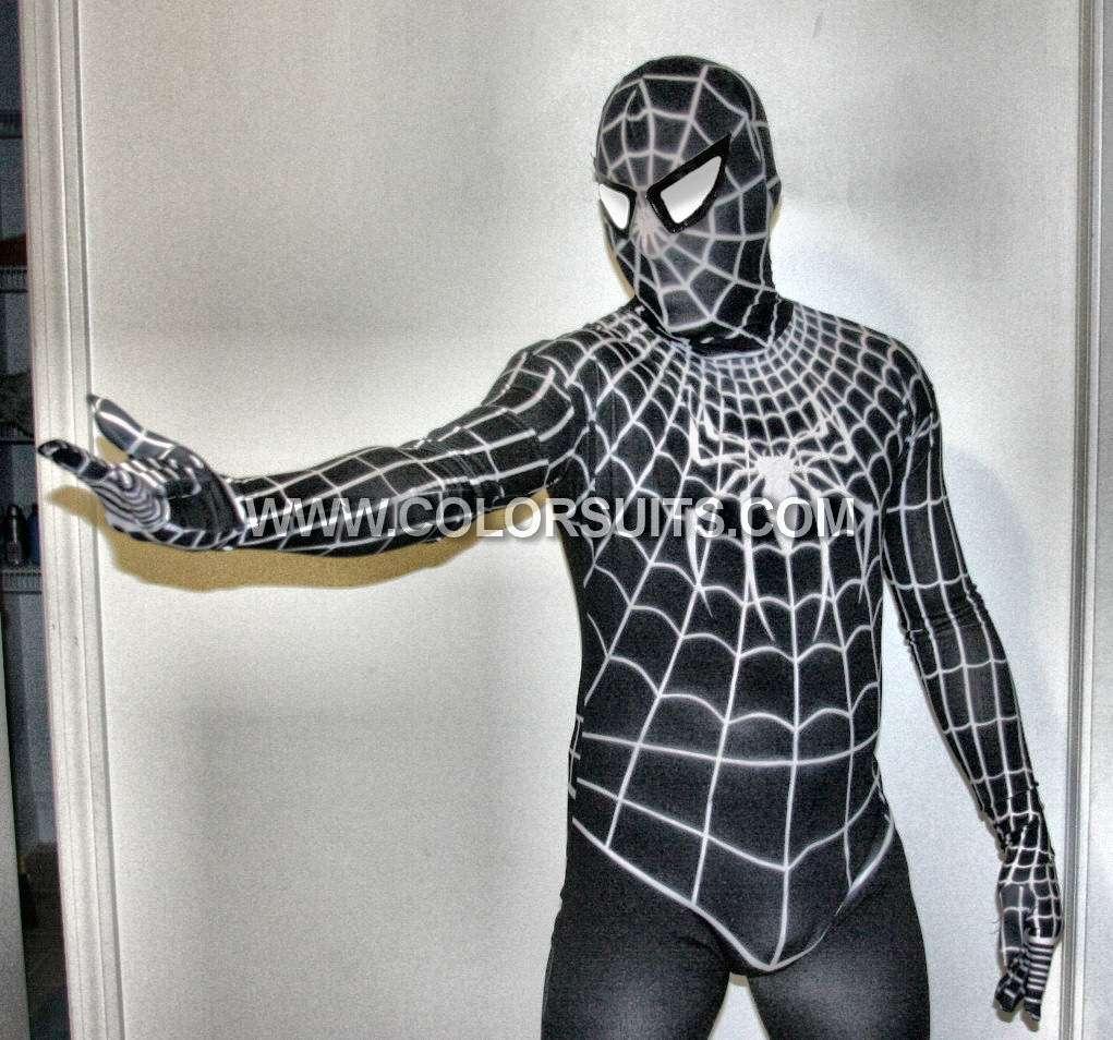 Black Spiderman Lycra Zentai Venom Suit Costume Replica